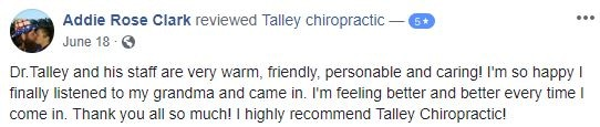 Talley Chiropractic Patient Testimonial
